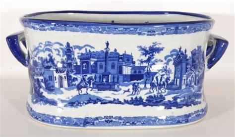 large blue white porcelain planter foot bath