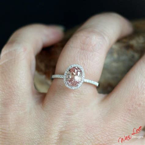 Green Saphire 14 2ct padparadscha sapphire oval halo engagement ring