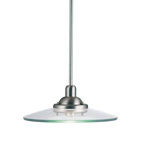 Kichler Pendant Light Fixtures Shop Kichler Galaxie 14 In Brushed Nickel Industrial Hardwired Single Clear Glass Warehouse
