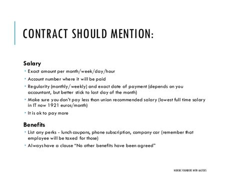 Startup Employment Contracts And Actual Cost Of Hiring People Nordi Salary Employee Contract Template