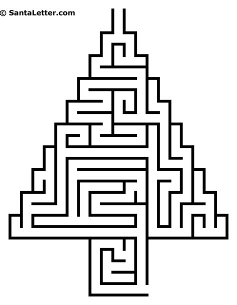 5 christmas tree mazes printable for kids