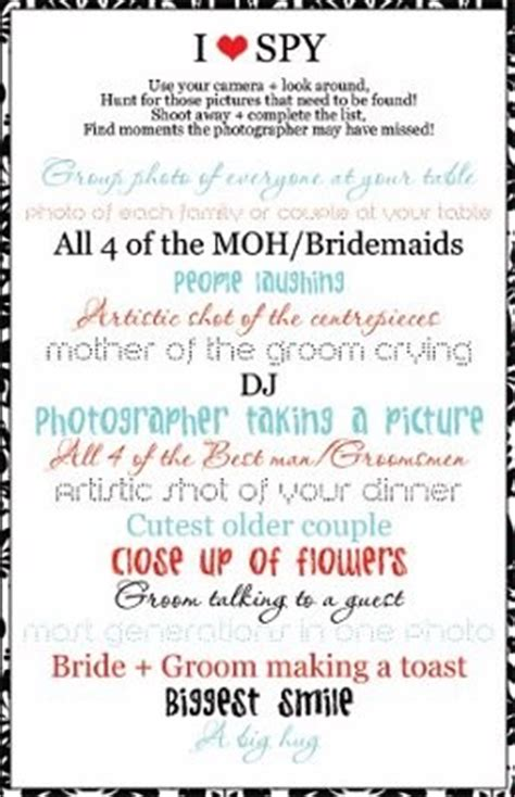 I Spy Game Weddings Do It Yourself Wedding Forums Weddingwire Wedding Photo Scavenger Hunt Template