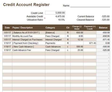 Excel Credit Card Balance Template Credit Account Register Template