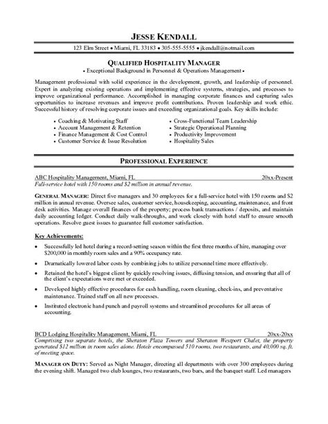 resume sles for hospitality industry sle resume for hospitality industry experience resumes