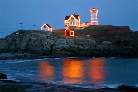 Cape Neddick Light by Nubble Lighthouse Cape Neddick Point Lighthouse York Maine