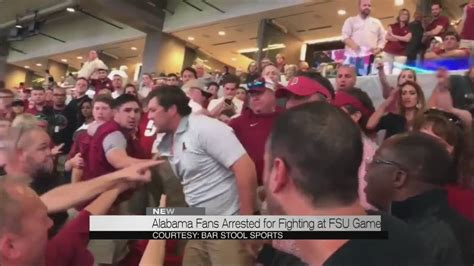 how alabama fans watched alabama fans arrested for fighting at fsu game youtube
