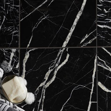 Black Marble Effect Marble Wall & Floor Tile, Pack of 5