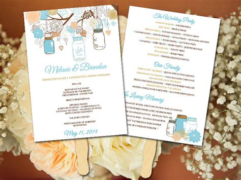 diy wedding fan program template jar wedding fan