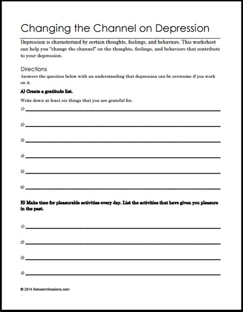Depression Worksheets For Adults by B Changing The Channel On Depression Pdf