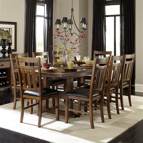 Oak Dining Room Set Homelegance Kirtland 9 Pedestal Dining Room Set In Warm Oak Beyond Stores