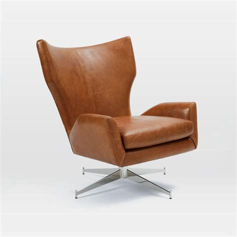 swivel armchair leather hemming leather swivel armchair saddle west elm au