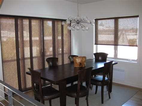 dining room blinds sliding panels roller shades modern dining room