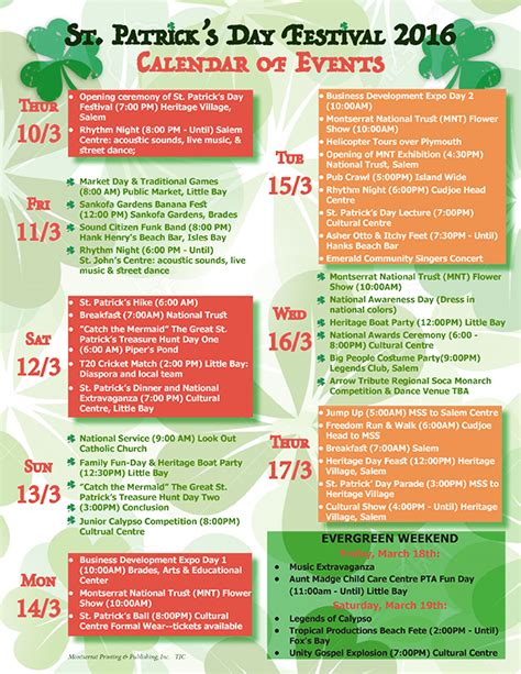 Calendar Of Events St S Day Festival 2016 Calendar Of Events The