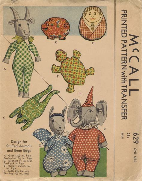 stuffed animal bean bag pattern mccall 1930s sewing pattern stuffed animals baby toys
