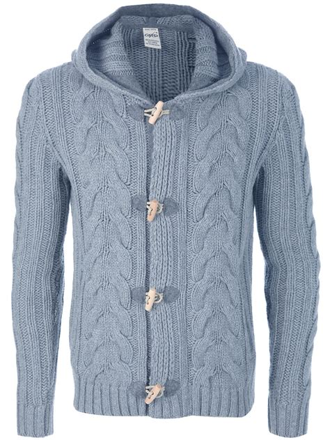 hooded cable knit cardigan grp cable knit hooded cardigan in gray for grey lyst