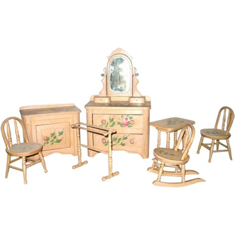 Victorian 8 Piece Painted Cottage Doll Bedroom Furniture Doll Bedroom Furniture