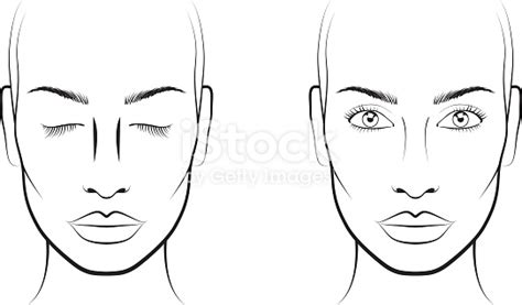 Young Woman Face Chart Makeup Artist Blank Template Stock Vector Art More Images Of Adult Makeup Chart Template