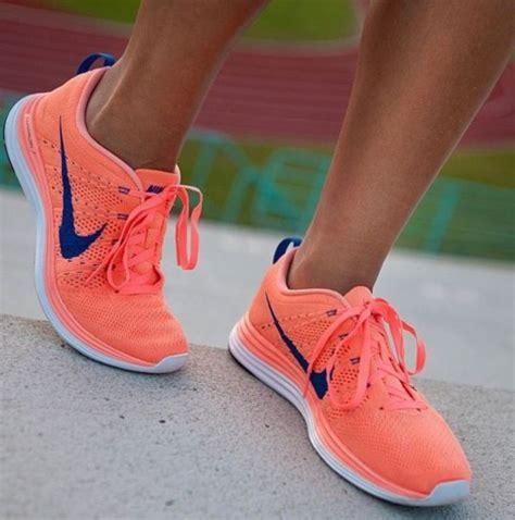 shoes nike flyknit neon neon orange pink blue