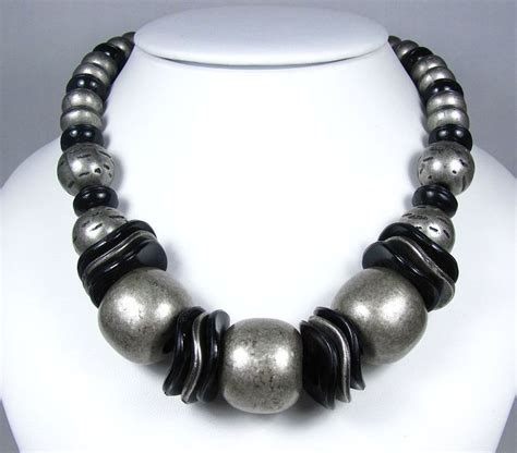 plastic bead necklaces vintage bold black and grey plastic bead necklace from