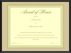 award of honor certificate template editable for word