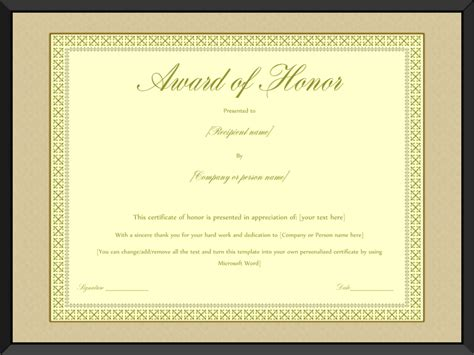 of honor card template award of honor certificate template editable for word