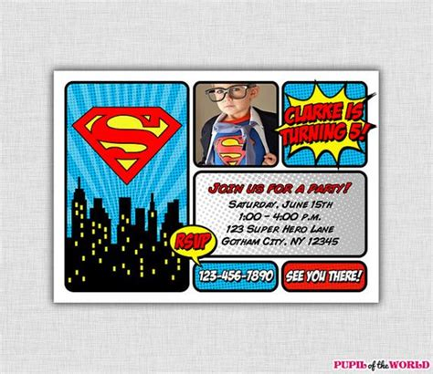 Superman Birthday Party Invitation Personalized By Pupiloftheworld 12 00 Toby Party Superman Baby Shower Invitation Template