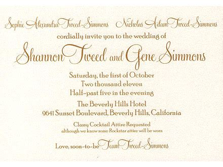 how to invite friends for s wedding wordings gene simmons wedding invitation confirms date
