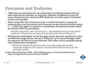 Exles Of Footnotes In An Essay by Apa 6th Ed Tutorial V10