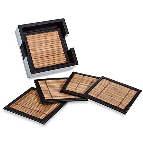 bed bath and beyond coasters bamboo and leather coasters with holder set of 6 bed