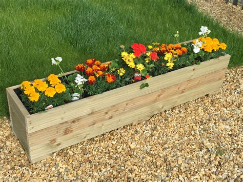 1 metre large wooden garden trough planter made in decking
