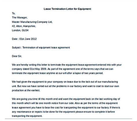 Wall Agreement Letter Uk 9 Lease Termination Letter Template