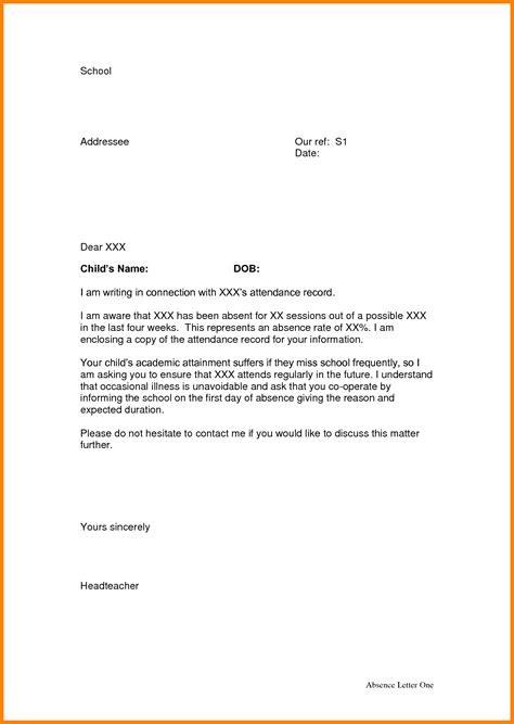 absence letter school appeal leter letter sample