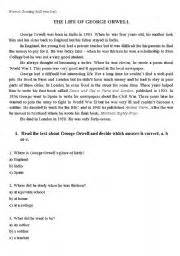 george orwell biography handout english worksheet the life of george orwell