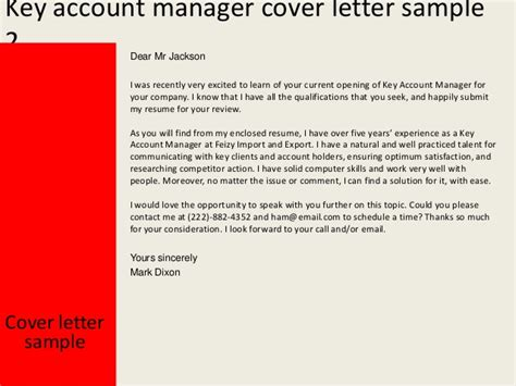 account management cover letter key account manager cover letter