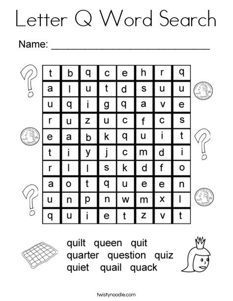 letter q word search coloring page twisty noodle