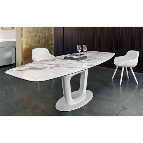 calligaris echo extending table orbital cs 4064 ceramic white marble top extendable dining