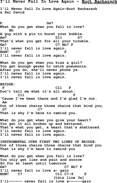 song i ll never fall in again by burt bacharach song