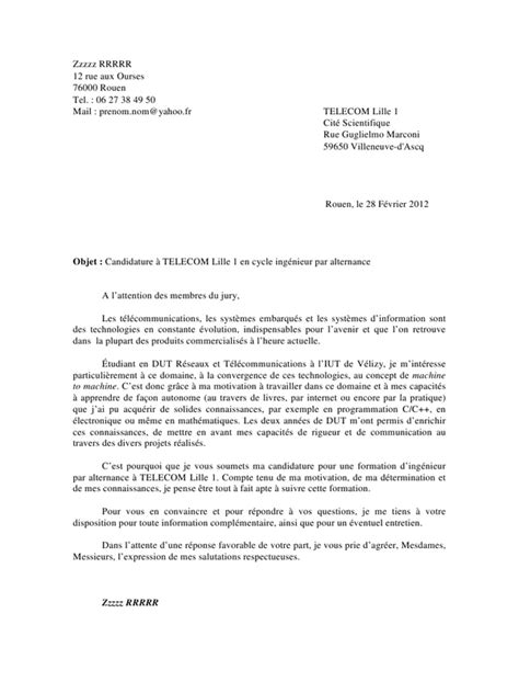 Ecole Ingenieur Lettre De Motivation Lettre De Motivation Ingenieur Employment Application