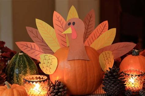 create a cute pumpkin turkey centerpiece for thanksgiving marin mommies