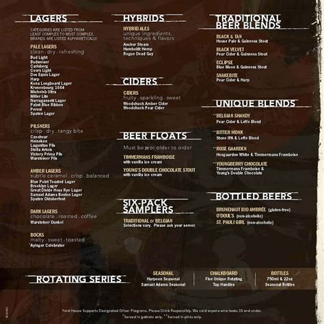Yh Fenway Lagers And Misc Beer Menu Yard House Pinterest