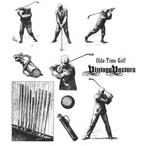 Old time golf vintage vectors