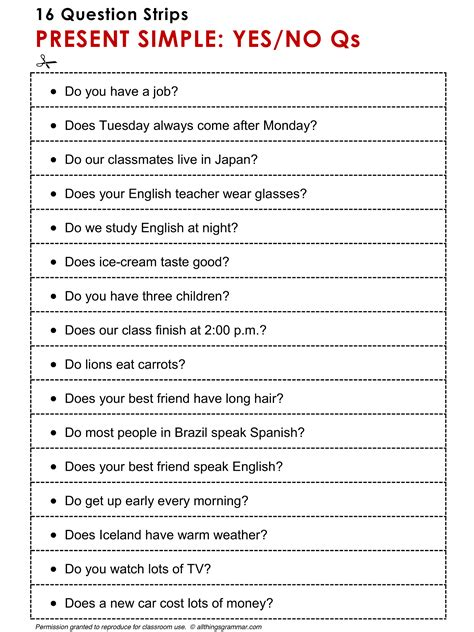 preguntas present simple exercises english grammar discussion practice yes no questions