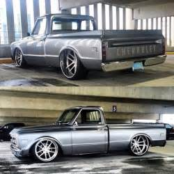 67 Chevy Truck Wheels 67 C10 Chevy Truck Slammed Grey Brushed Wheels Concave