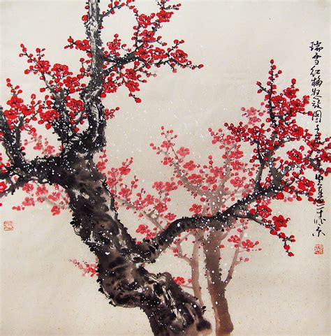 original painting chinese art oriental art lovely cherry