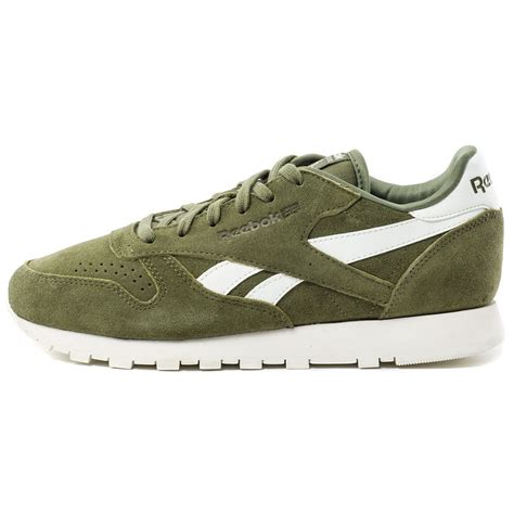 reebok cl leather suede womens trainers in green white