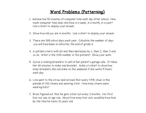 pattern math word problems 15 best images of 4th grade math word problems worksheets