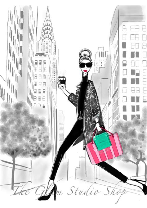 new york shopping illustration glam observer