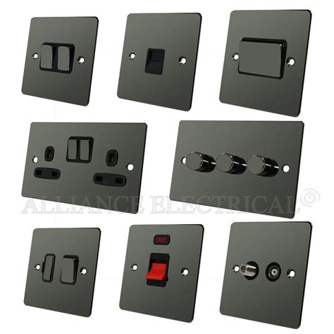 range flat plate black nickel light switch socket