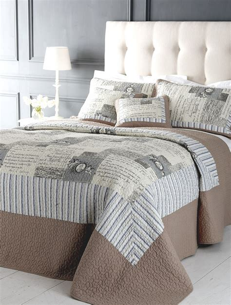 Grey Patchwork Quilt - beige grey patchwork quilt bedspread 2 sizes ebay
