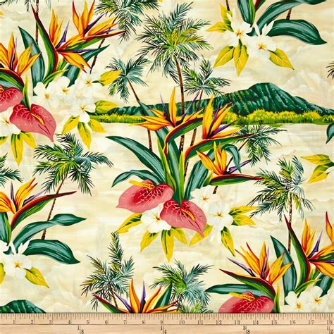 tropical fabric prints for upholstery hoffman tropical collection volcano ivory discount
